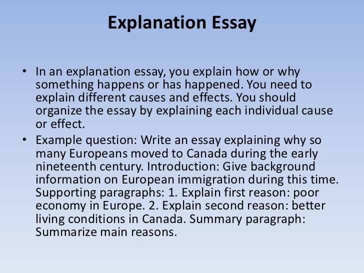 explanation in essays