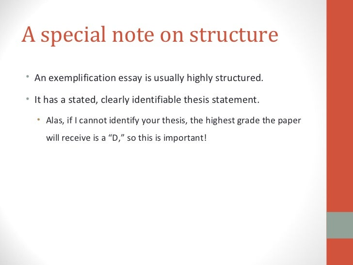 Structure of an exemplification essay