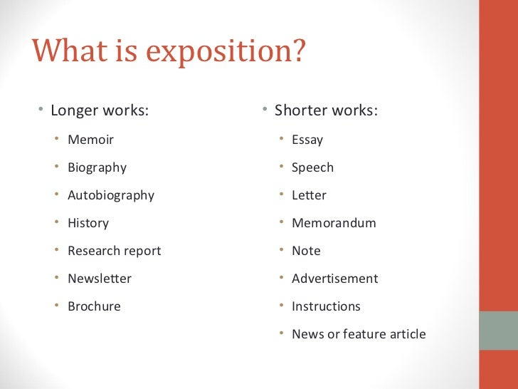 exposition essay examples Students are often asked to write expository essays for various college-level courses, including english, history, and the social sciences the expository essay is.