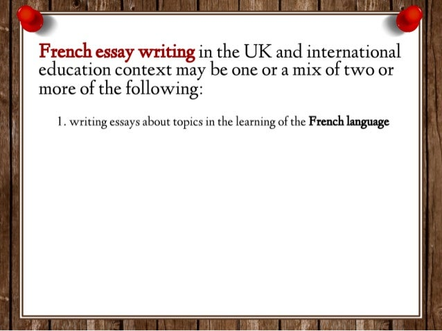 I need a topic to write about for a french essay?