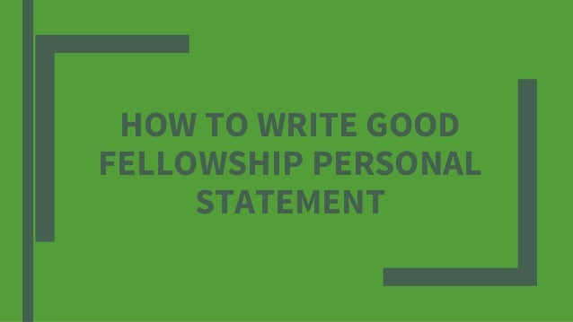 How to write good personal statement