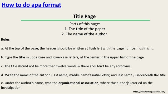 How To Write In Apa Format Properly