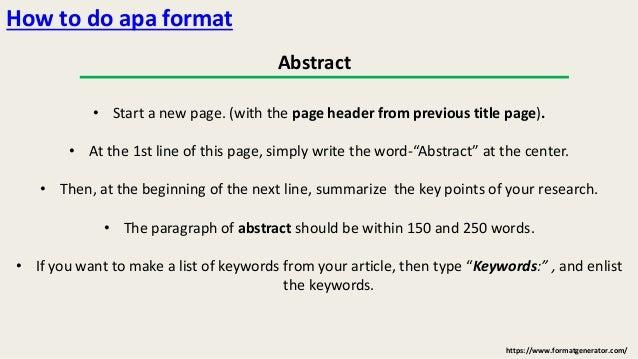Apa Format In Essay
