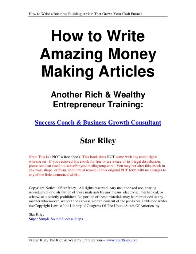 How to Write a Business Building Article That Grows Your Cash Funnel ...