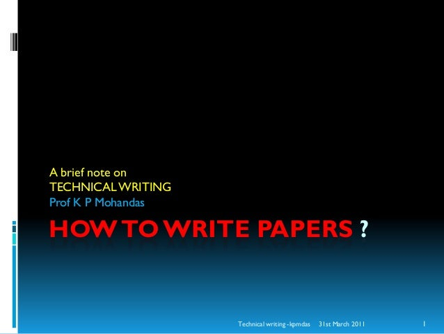 how to write technical paper presentation