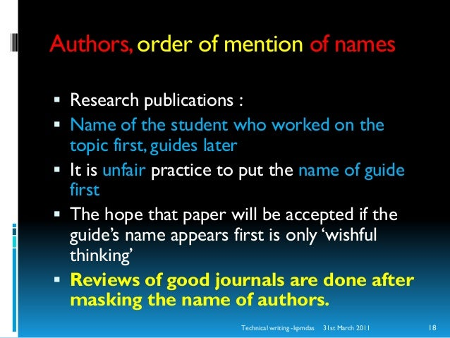 order of authors on research papers Research paper author order author guidelines for preparing research papers and manuscripts for authors are encouraged to submit a original research paper to.