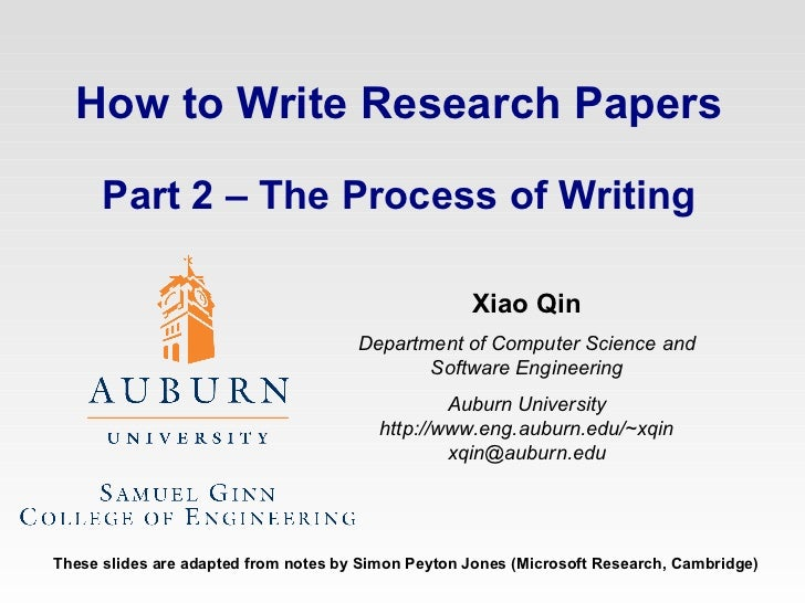 How to  write papers, part 2 process of writing