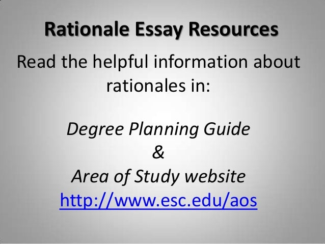 degree rationale essay Sample application essay for nursing school instructions: this essay is for when i apply to nursing schooli am going for a bachelors in nursing the only criteria for the essay is that it must be two pages long.
