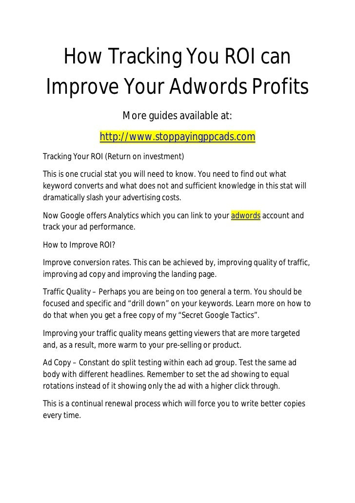 How Tracking You ROI Can Improve Your Adwords Profits