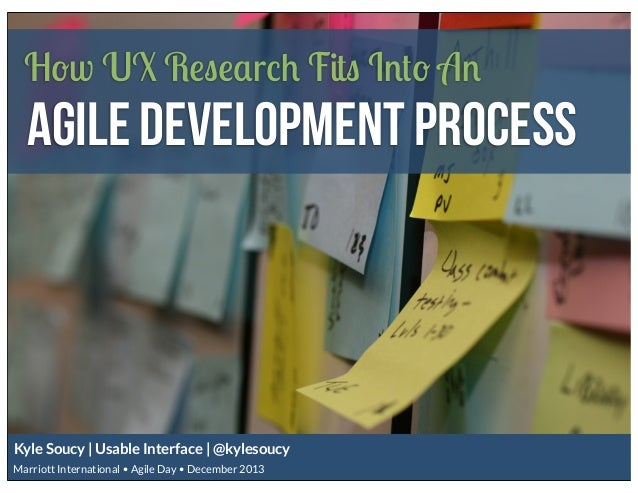 How UX Research Fits Into An  Agile Development Process  Kyle Soucy | Usable Interface | @kylesoucy Marriott International...