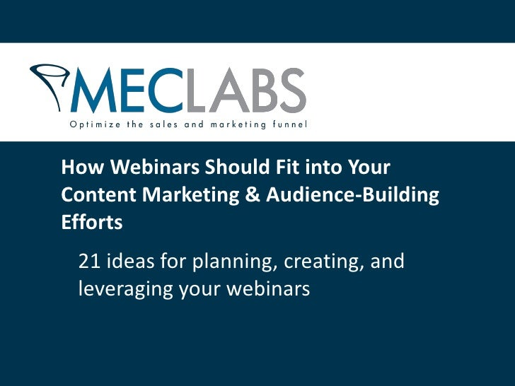 21 Ideas for Webinar Marketing