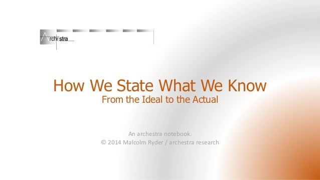 How We State What We Know: from the Ideal to the Actual