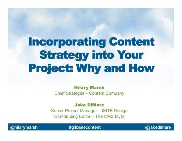 Incorporating Content Strategy into Your Project: Why and How Hilary Marsh Chief Strategist – Content Company Jake DiMare ...