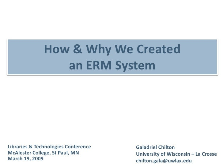 How & Why We Created an ERM