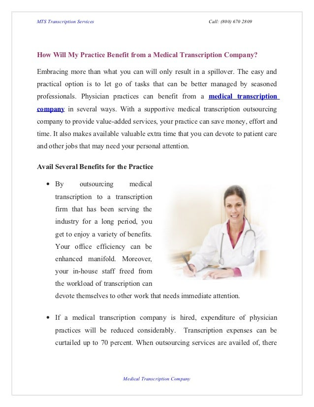 How will my practice benefit from a medical transcription company