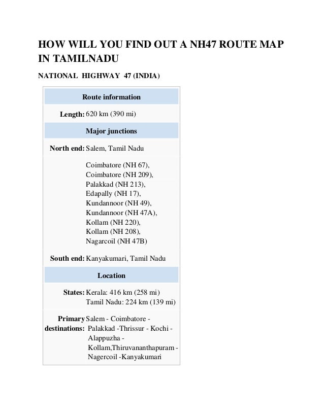 How will you find out a nh47 route map in tamilnadu