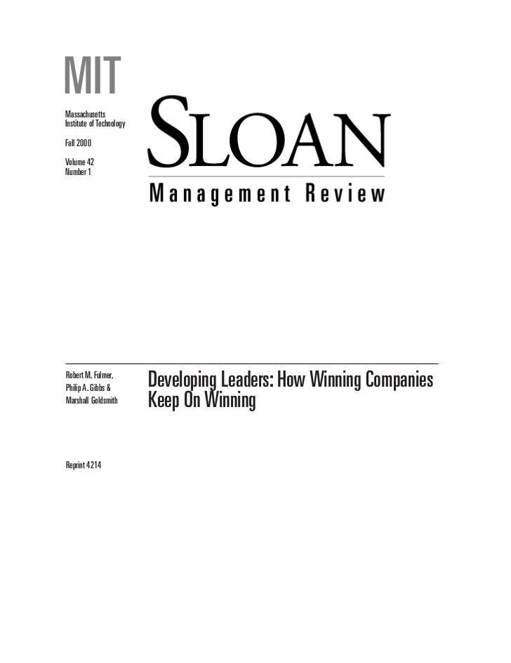 How winning companies develop leaders   mit sloan - fall 2000
