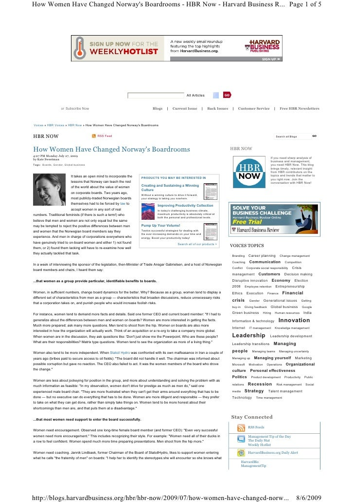 How Women Have Changed Norway's Boardrooms - HBR Now - Harvard Business R... Page 1 of 5                                  ...