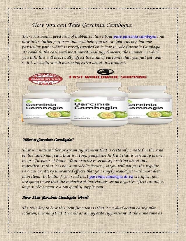 How you can take garcinia cambogia