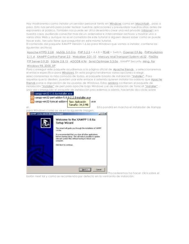 mostraremos como instalar un servidor personal