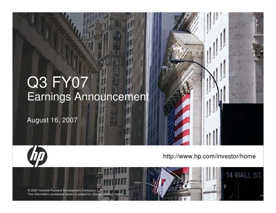 Hp Q3 2007 Earnings Presentation