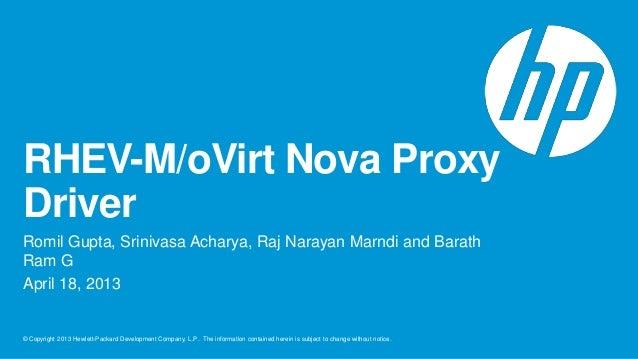 RHEV-M/oVirt Nova ProxyDriverRomil Gupta, Srinivasa Acharya, Raj Narayan Marndi and BarathRam GApril 18, 2013© Copyright 2...