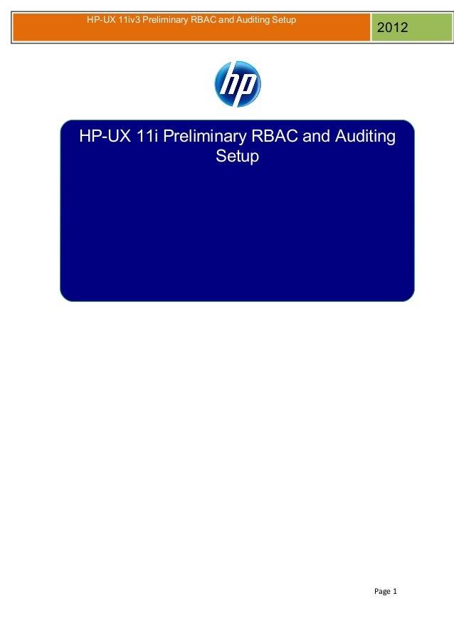 HP-UX RBAC Audsys Setup by Dusan Baljevic