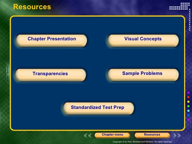Chapter Presentation Transparencies Sample Problems Visual Concepts Standardized Test Prep Resources