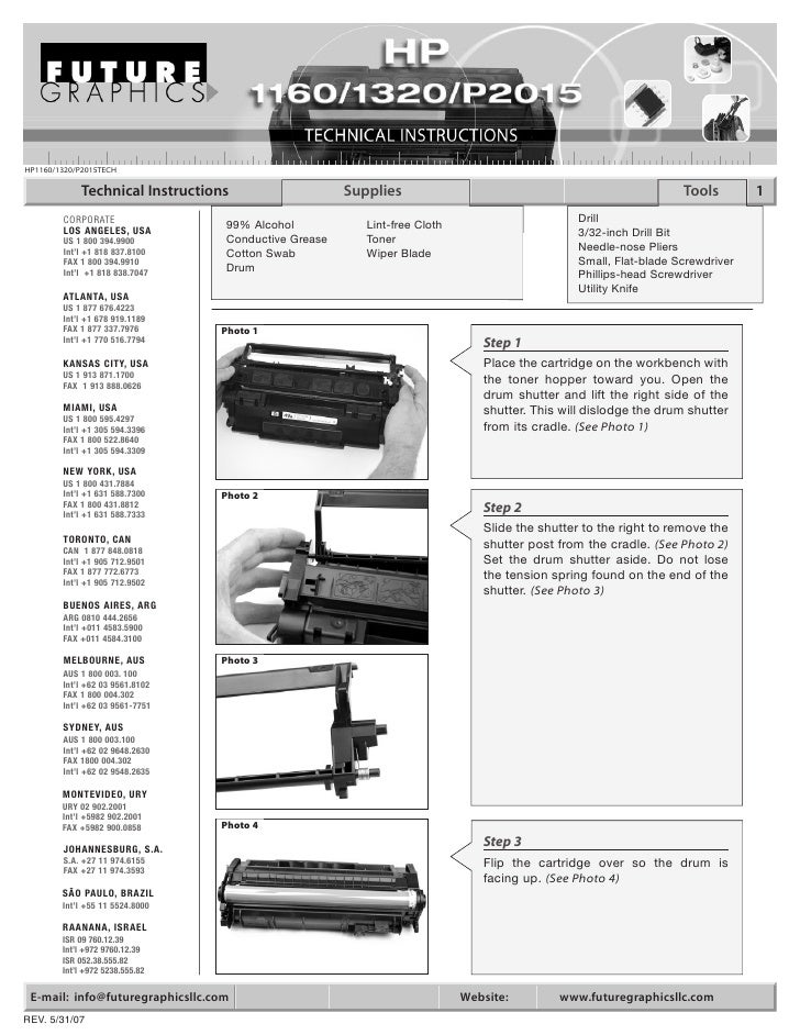 HP1160/1320/P2015TECH              Technical Instructions                    Supplies                                     ...