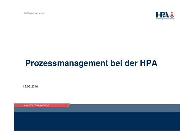 HPA PROZESSMANAGEMENT HPA Prozessmanagement HPA PROZESSMANAGEMENT Prozessmanagement bei der HPA 12.05.2016