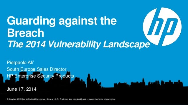 HP Software Performance Tour 2014 - Guarding against the Data Breach