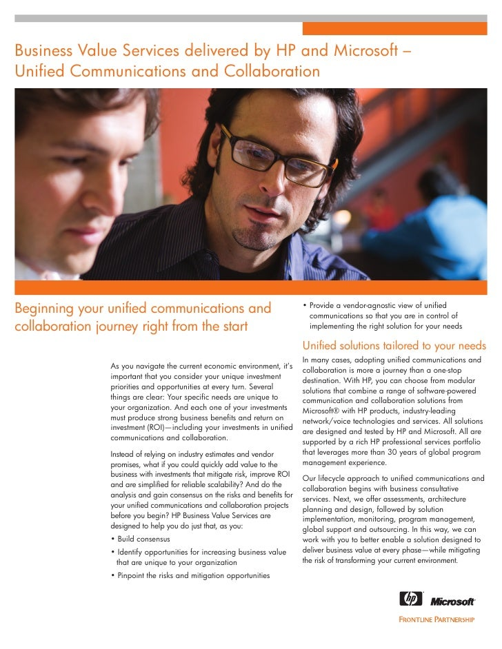 Microsoft Unified Communications - HP and Microsoft Business Value Services Whitepaper