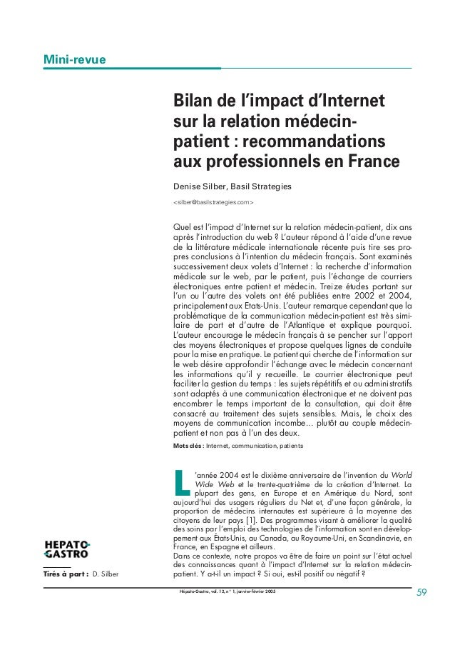 Bilan de l'impact d'Internet sur la relation médecin- patient : recommandations aux professionnels en France