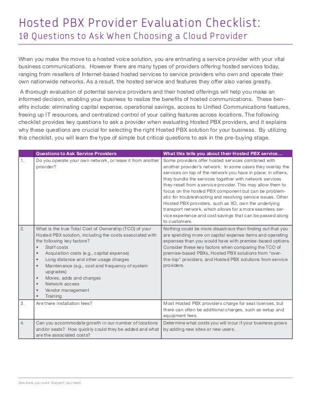 Hosted PBX Service Provider Checklist