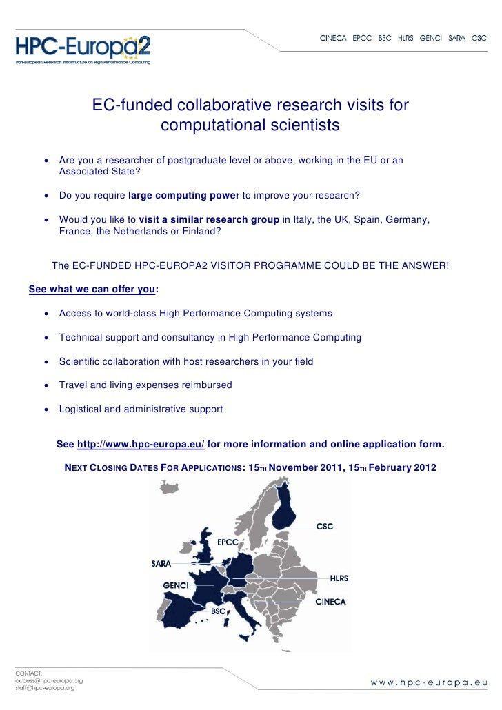 EC-funded collaborative research visits for                       computational scientists   •    Are you a researcher of ...
