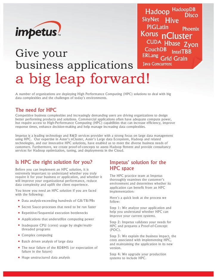 Give your business applications a big leap forward! A number of organizations are deploying High Performance Computing (HP...
