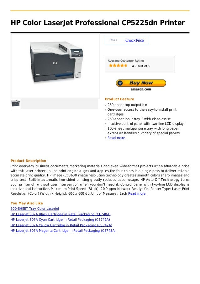 HP Color LaserJet Professional CP5225dn Printer                                                                  Price :  ...