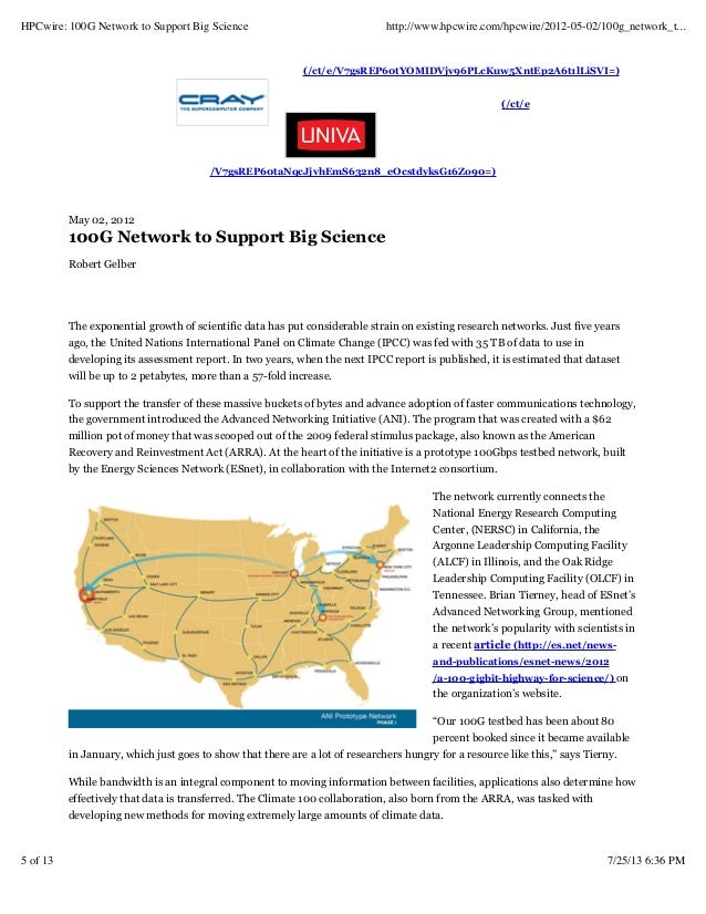 Hpcwire100gnetworktosupportbigscience 130725203822-phpapp01-1
