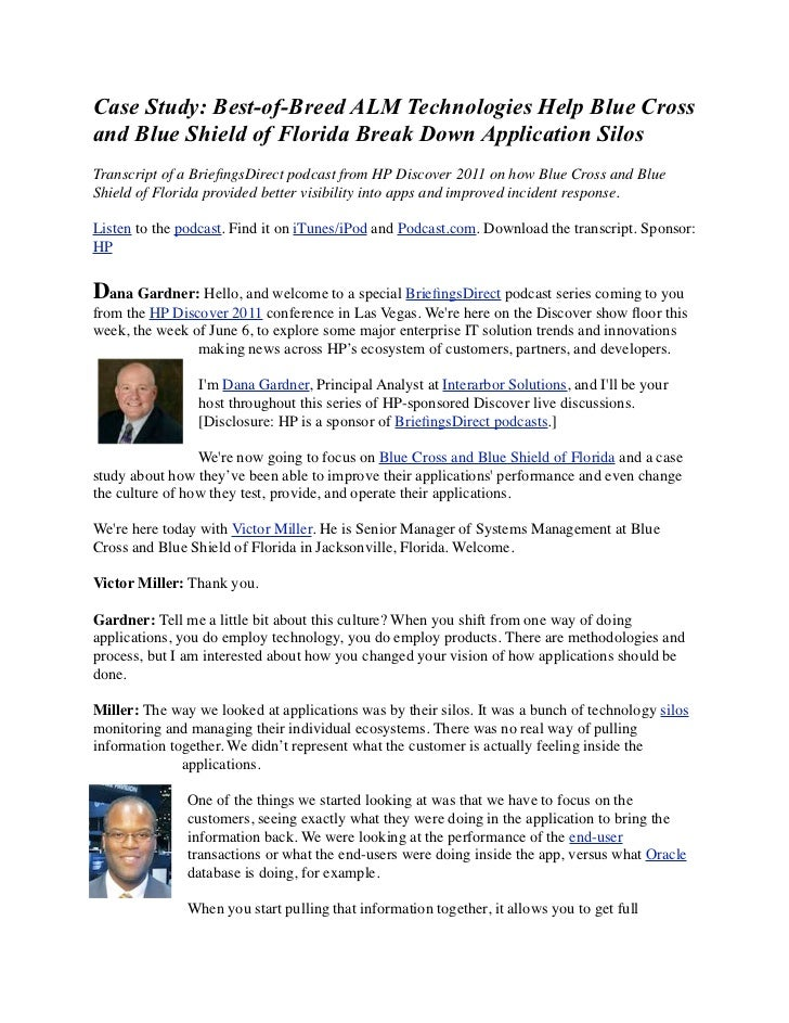 Case Study: Best-of-Breed ALM Technologies Help Blue Cross and Blue Shield of Florida Break Down Application Silos to Improve Application Performance