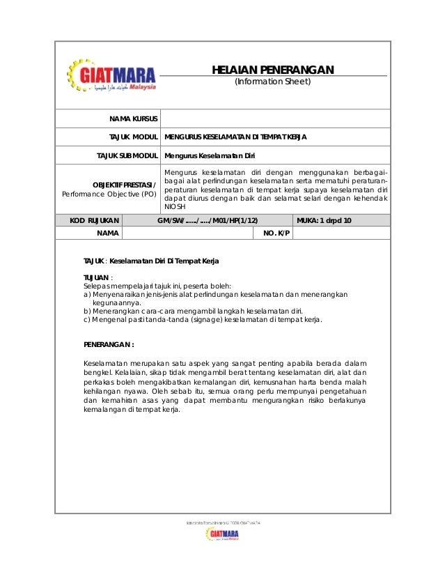 HELAIAN PENERANGAN (Information Sheet)  NAMA KURSUS TAJUK MODUL TAJUK SUB MODUL  OBJEKTIF PRESTASI / Performance Objective...