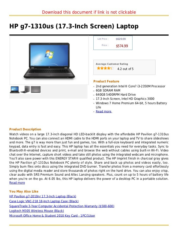 Hp g7 1310us (17.3-inch screen) laptop
