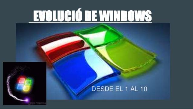 EVOLUCIÓ DE WINDOWS DESDE EL 1 AL 10
