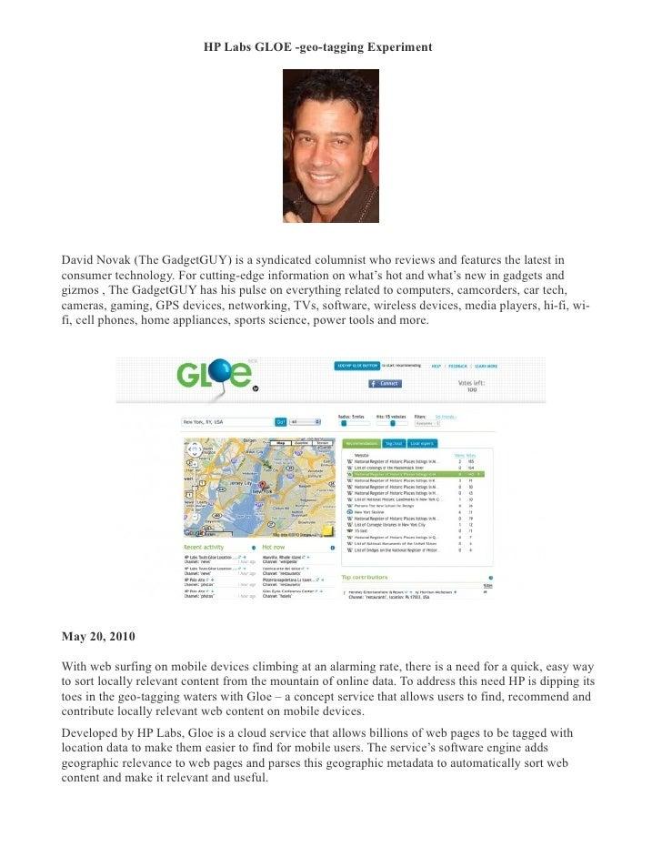 Hp labs gloe  geo-tagging experiment- david novak (the gadgetgu-ycolumn.com)
