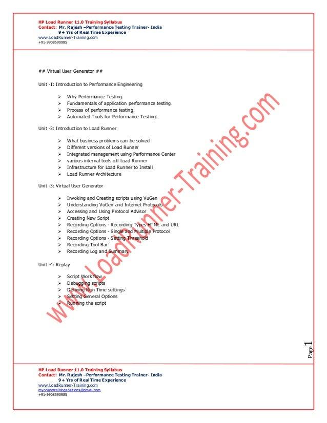 Hp load runner syllabus