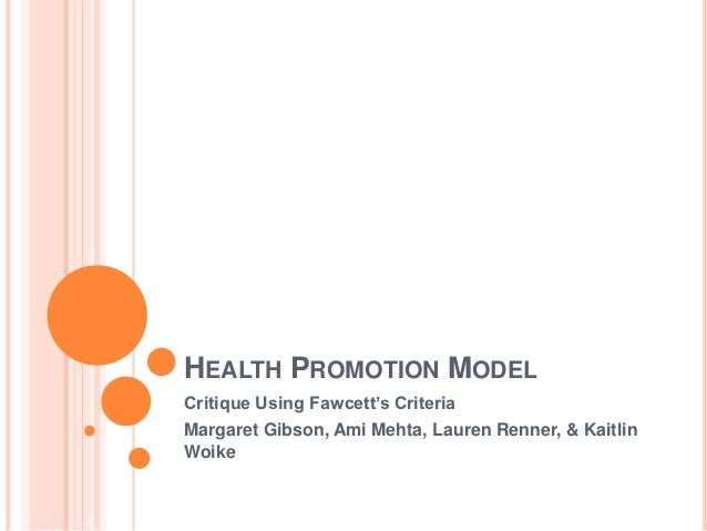 Essay Health Promotion Model