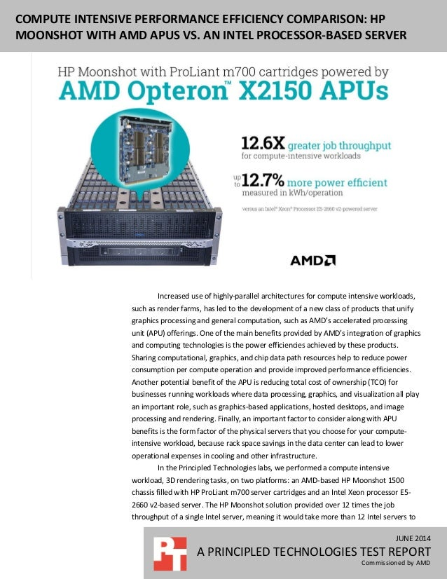 Compute intensive performance efficiency comparison: HP Moonshot with AMD APUs vs. an Intel processor-based server