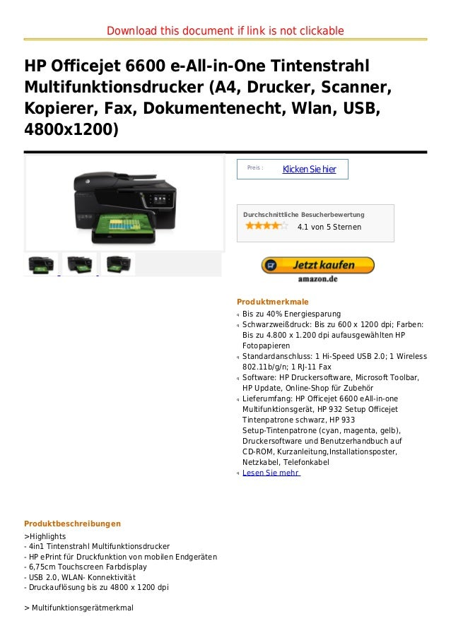 Download this document if link is not clickableHP Officejet 6600 e-All-in-One TintenstrahlMultifunktionsdrucker (A4, Druck...
