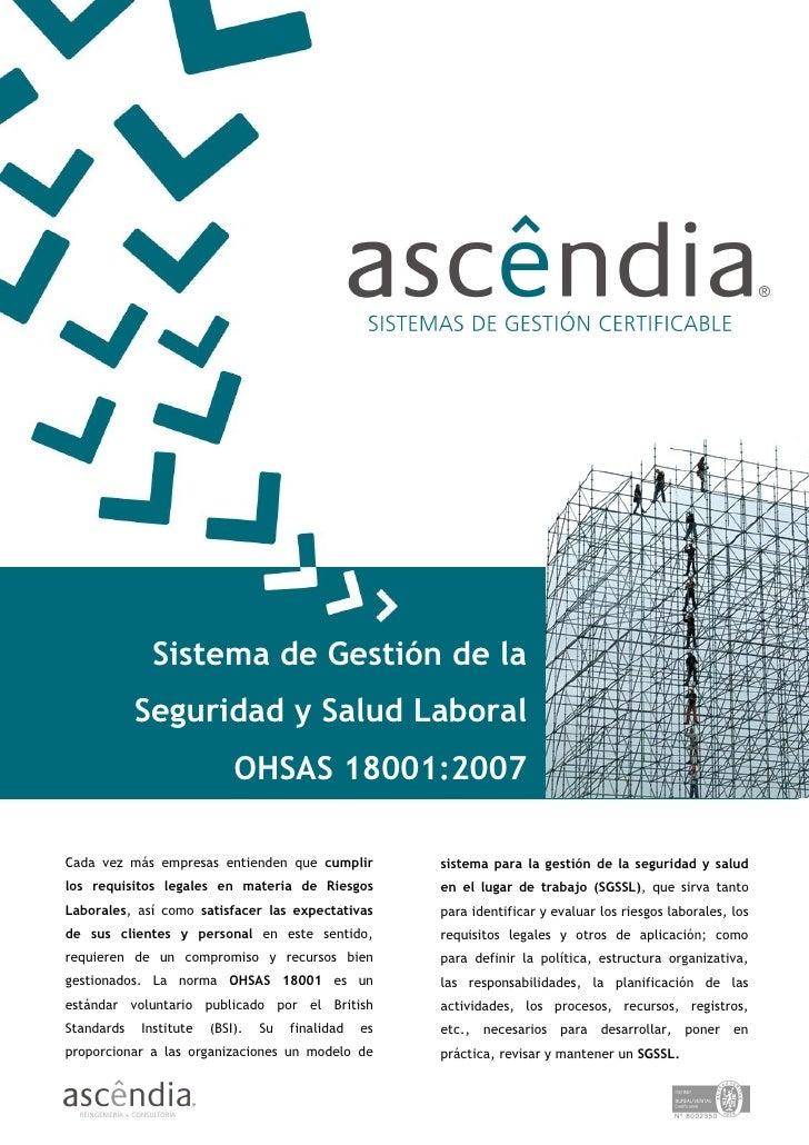 Sistema de Gestión de la             Seguridad y Salud Laboral                             OHSAS 18001:2007  Cada vez más ...