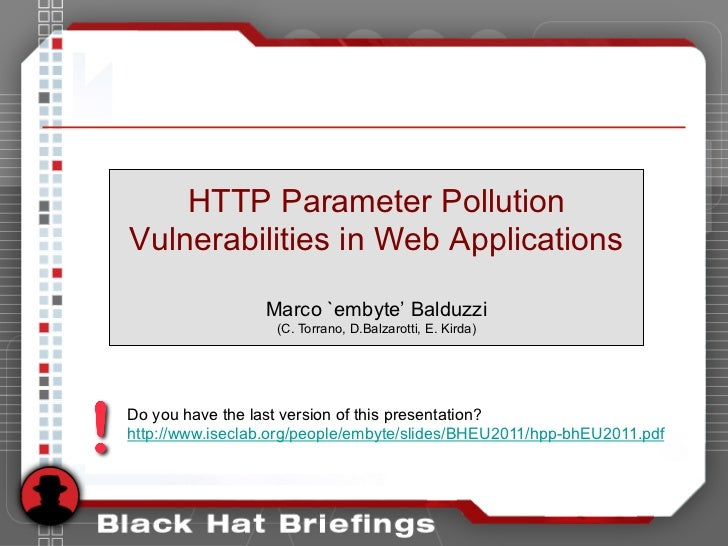 HTTP Parameter Pollution Vulnerabilities in Web Applications (Black Hat EU 2011)