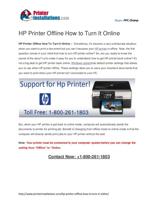 how to put hp printer online from offline